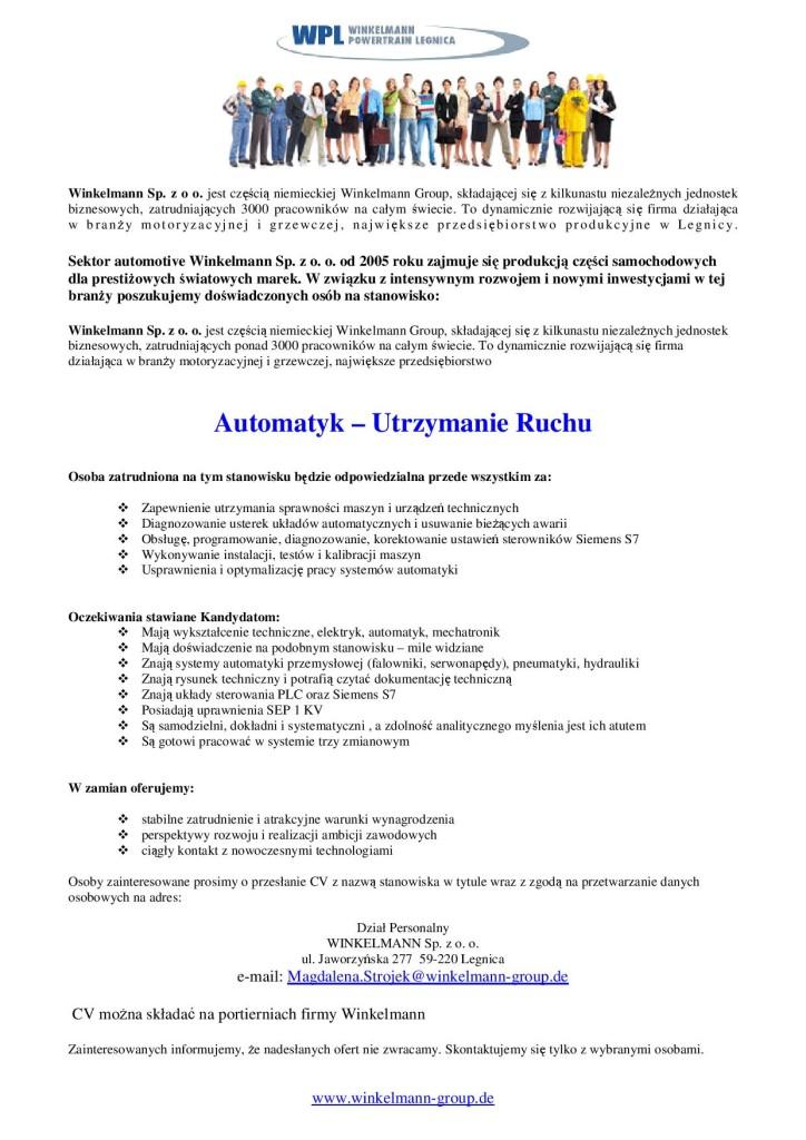 Winkelman oferta pracy Automatyk